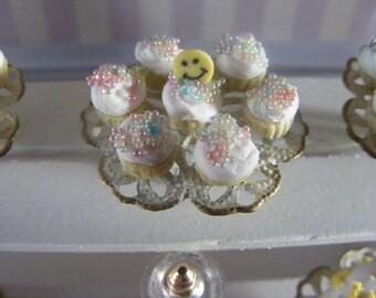 1/12 Scale Pastel Sprinkles Cupcakes