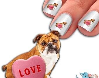 English Bulldog with Candy Heart Nail Art Kit - Dog Nail Decals - Waterslide Nail Decals - English Bulldog Nail Decals