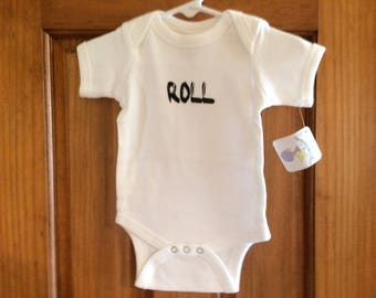 """Set of Twin Onesies """"Rock"""" and """"Roll"""" 0-6 Months"""