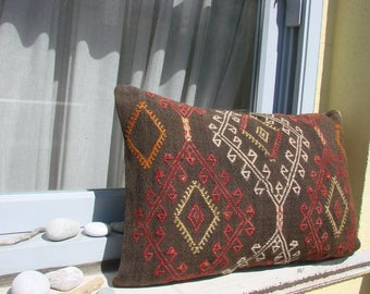 Turkish handmade Kilim pillow 16x23.5 inches