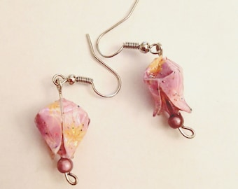 BO (earrings) lotus origami flowers