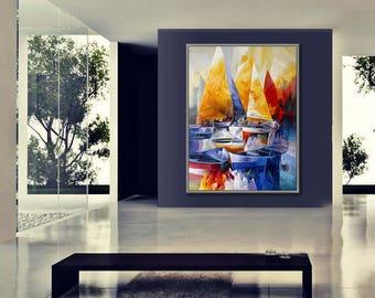 "Sailboat, Seascape, Yacht, Regatta, Sailing, Yachting, 36x48""/90x120cm"