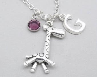 Giraffe monogram necklace | giraffe charm initial necklace | giraffe pendant | personalised giraffe necklace | giraffe jewelry | letter
