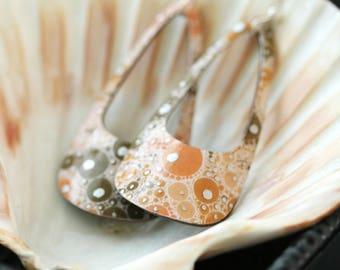 Orange/Coral Dangle Teardrop Earrings - Medium
