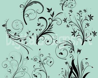 Floral Elements Clipart, Printable Floral Elements, Wedding Floral Elements, Digital Floral Elements Clipart