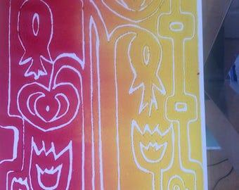 Original Artwork Lino print in oil base block print paint, not framed. Art Nouveau influences. birthday, Anniversary, Mothers Day