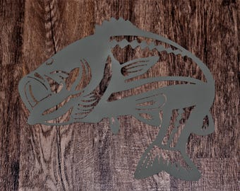 Beautifully designed and cut, metal fish wall art for outdoor theme or cabin l metal art l gift for men l