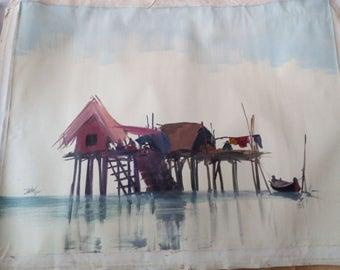 Painting of master Zaw Min, Lake Inle Burma