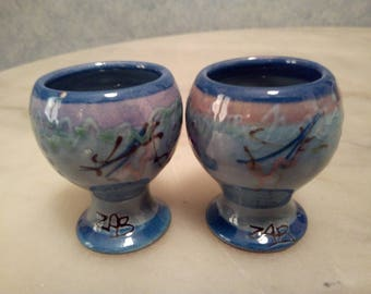 2 egg cups signed made in Dieulefit Drôme 26.