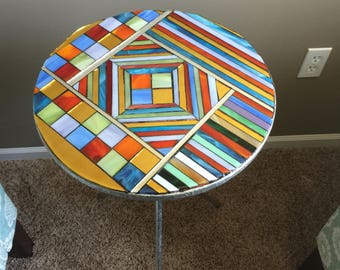 Abstract Mosaic Table - Stained Glass