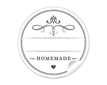 24 STICKERS: 24 universal sticker in white with heart and ornaments 'HOME MADE' with free text field for homemade E.g. spices,.