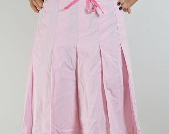 Marks&Spencer Pleated pink skirt, pleated skirt, pink, cotton
