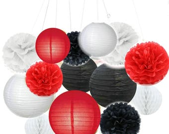Set of 14 Mixed Red Black White Party Tissue Pom Poms Pompoms Paper Lantern Honeycomb Ball Baby Shower Birthday Wedding Party Decoration