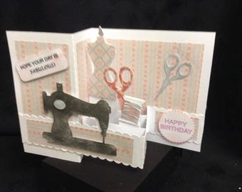 Vintage Sewing Machine Greetings Card