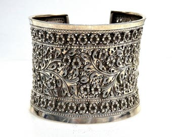 Sterling Silver Flower Design Cuff Bracelet