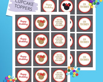 Minnie Cupcake Toppers, Minnie Invitation, Minnie Birthday, Cupcake Toppers, Minnie Party Decoration, Minnie Printable, Minnie Mouse Party