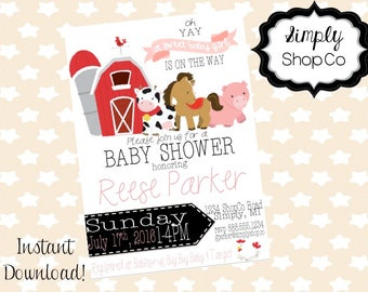Farm Animals baby shower invitations, invite, printable, you print, DIY instant download, editable baby shower template, pink, baby girl.