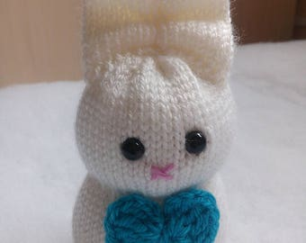 14 cm White Rabbit Knitted Toy
