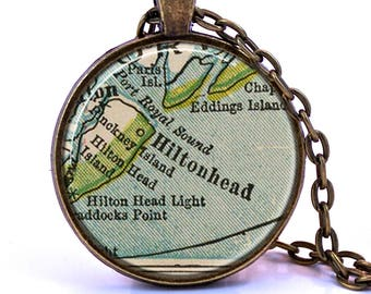Hilton Head Map Pendant Necklace - Created from a 1927 map. Hilton Head Gift, Hilton Head Jewelry, Hilton Head Island, Hilton Head Necklace