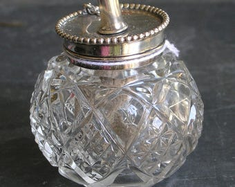 Antique etched glass an sterling top miniature cigar lighter/lamp