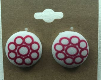 White and Pink Flower Earrings