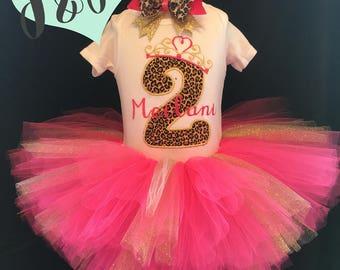 Birthday Tutu Outfit - Number 1 2 3 4 5 6 7 8 9 - Cheetah Print - Pink - Gold - Glitter - Size 12M 24M 2T 3T 4T 5 6 6x 7 8
