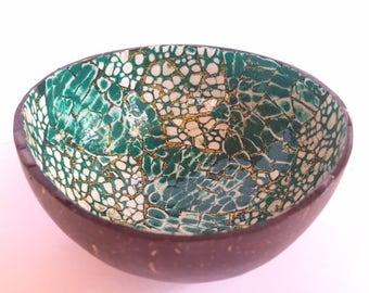 No. 1/18 Handmade Artisan Mosaic Hawaiian Coconut Shell Bowl with Artistic Hand-painted Inlay (Green/Gold)