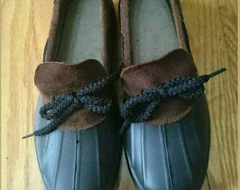 Black Vintage Rubber Rainskimmer Ducky Shoes Size 6
