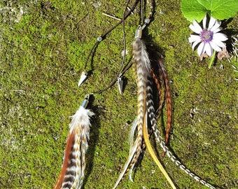 Feather and leather, feather and leather necklace minimalistic minimalist necklace sautoir