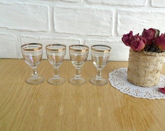 Old shot glasses set, Soviet Vintage shot glass, gold rimmed glass stemware, vodka glasses, set of Soviet vintage' 60s, soviet vintage 60s