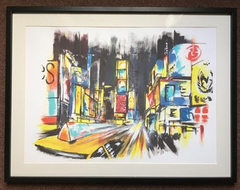 New York Times Square Print // NYC Painting Artwork // Birthday gifts // Anniversary gifts // Housewarming gifts //