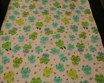 White weighted blanket with frog print and white dot minky fabric/sensory blanket