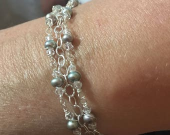 Pearl and swarovski crystal sterling silver wrapped necklace