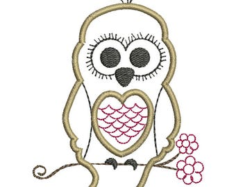 Sweet Owl Applique - Machine Embroidery Design