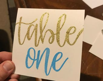 Reception TABLE NUMBER CARDS, Hand Lettering Place Cards, Wedding Table Place Cards, Wedding Number Table Cards, Table Numbers