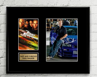 Paul Walker - Fast and Furious 8 -  Signed Poster Art Print Artwork - Nissan Skyline GTR R34 - Bayside Blue