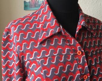 Fun 1960s Wave Pattern Straight Cut Dress