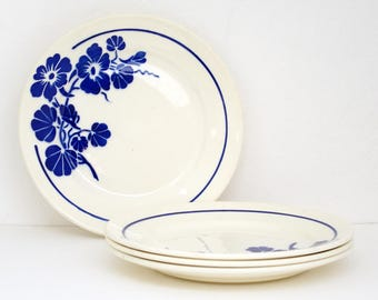 "4 French antique ironstone stencilware Large dessert plates / Badonviller ""Capucines"" / blue floral decor of nasturtium / Mid Century"