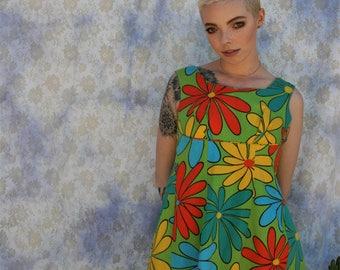 1960's psychedelic green, orange, yellow mini dress