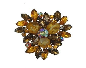 Vintage 1950's Amber Rhinestone and Polished Rock Brooch, Amber Marquise, Round Rhinestone and Polished Rock Brooch, 1950's Vintage Brooch