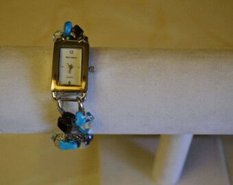 Watch Silver Turquoise with beaded bracelet