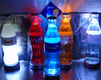 5 Fan Made Fallout CosPlay Glowing 330ml Glass Bottles + 5 LED Bottle Lamps + 15 Spare Brand New Bottle Caps +  5 Stickers