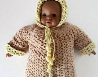 2 in 1 reversible hand crocheted unisex baby hooded jacket