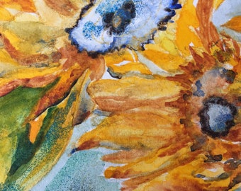 Sunflower, Opus I, 5x7 Photograph of original watercolor piece.