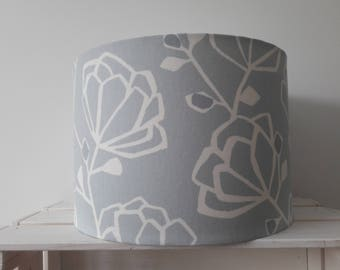 Pale Blue Floral Drum Lampshade