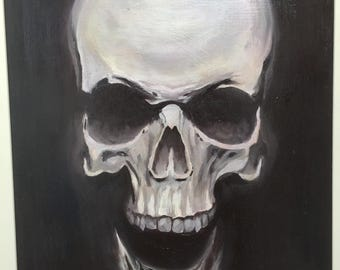 Oil on canvas Board, human skull more cassette color creamy white wood frame