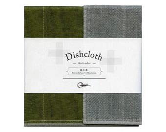 Nawrap R.I.B. Dishcloth, Moss Green x Charcoal, Naturally Antibacterial