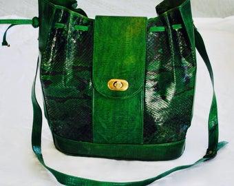 Vintage green snake skin bucket bag