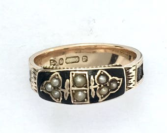 RESERVED for RL • 1898 Victorian 9CT Gold Enamel, Leather and Seed Pearl Mourning Ring