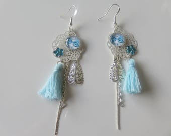 """Earrings """"Syrena"""" filigree flower with white, silver and blue ornaments on sterling silver 925/1000"""